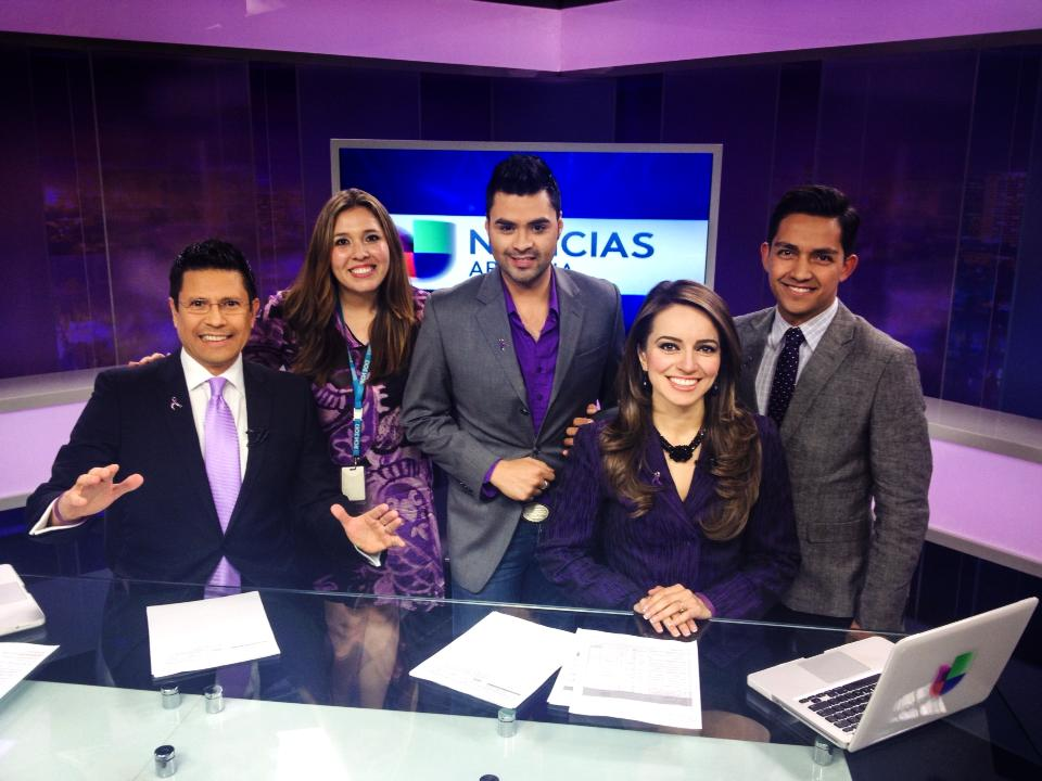 Univision set and Talent in Purple
