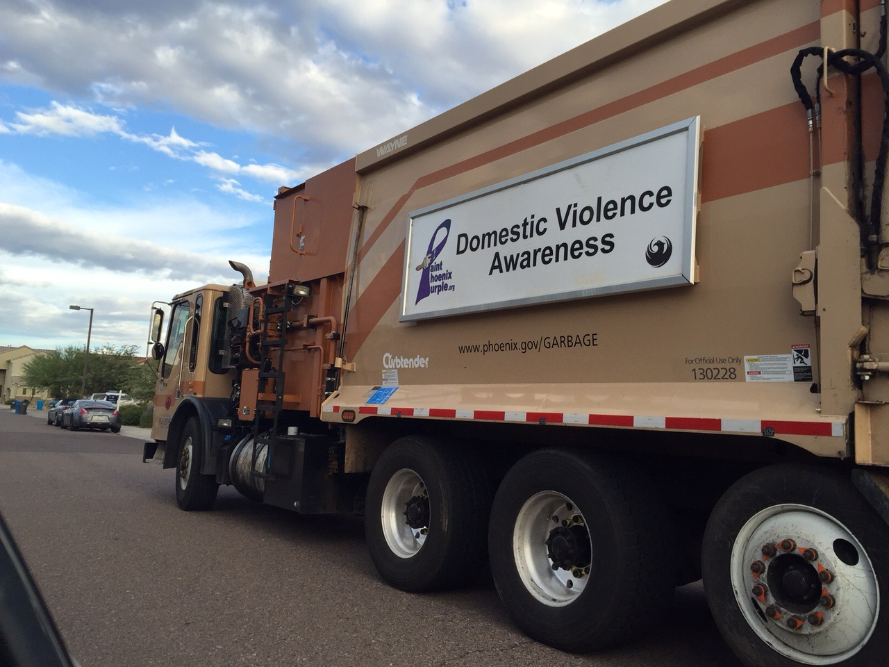 Solid Waste Truck Purple Banner