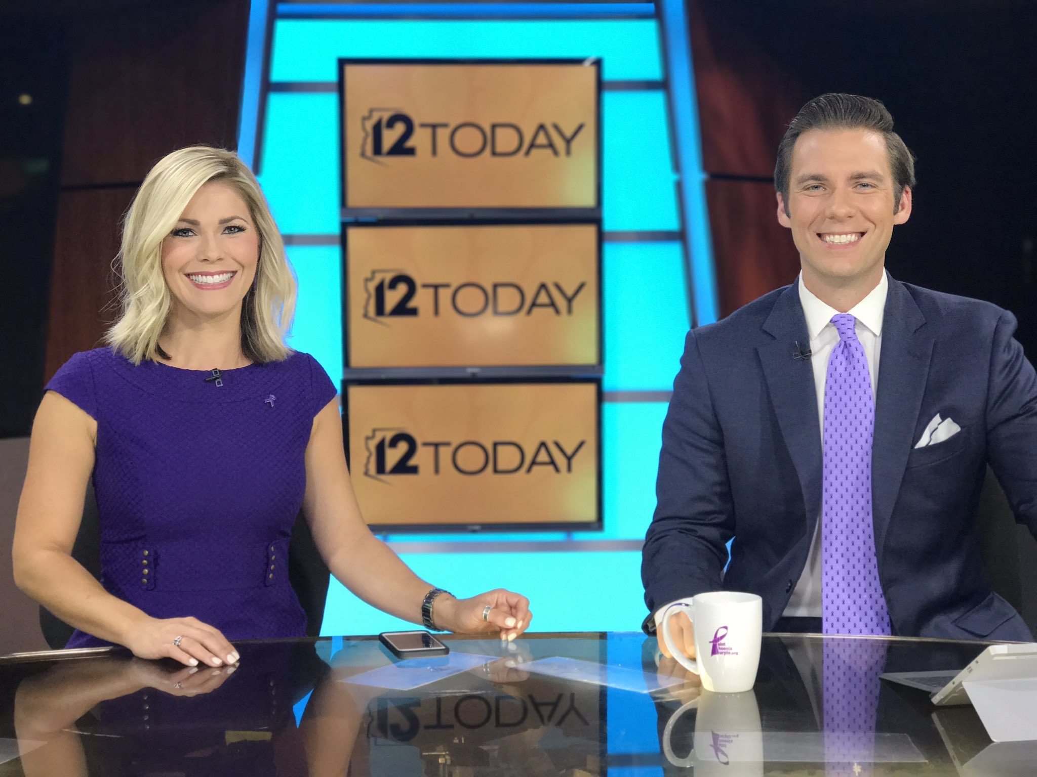 Channel 12 News Anchors #PaintsPHXPurple